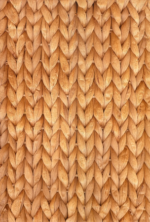 Weaved water hyacinth for background or structure; Wickerwork mat; Woven mat of natural materials