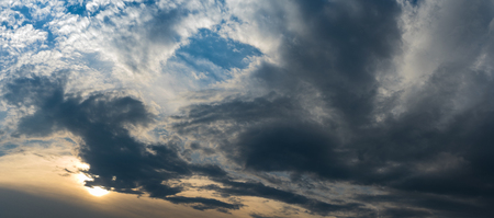 hydrological: Dramatic cloud formation at sundown, Weather change, Meteorology; Panorama of overcast sky at sunset with bright and dark clouds