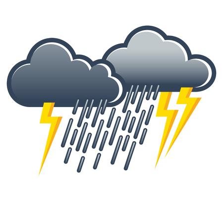 Nuages ??gris foncé avec de fortes pluies et des foudre; Icône météo; Prévisions météorologiques