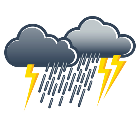 Dark gray thunderclouds with heavy rain and lightning; Weather icon; Weather forecast Vectores