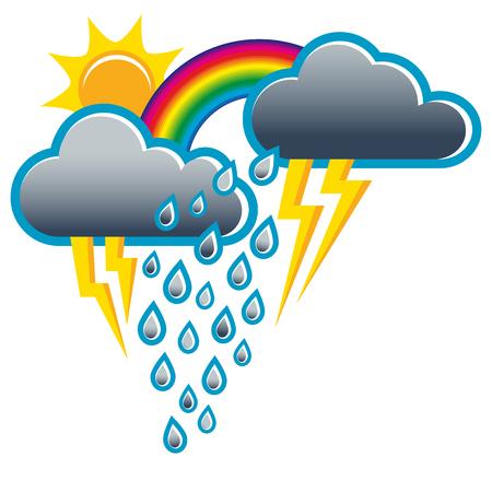 天気予報は雷雨からサンシャイン; に変更します。天気アイコン;太陽と同時に雨と虹  イラスト・ベクター素材