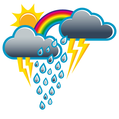 Weather change from thunderstorm to sunshine; Weather icons; Sunshine and rain at the same time cause rainbow Illustration