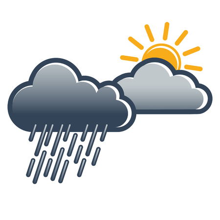 Weather symbol for coming sun after rainfall; Weather change from rain to sunshine; Weather report; Weather forecast