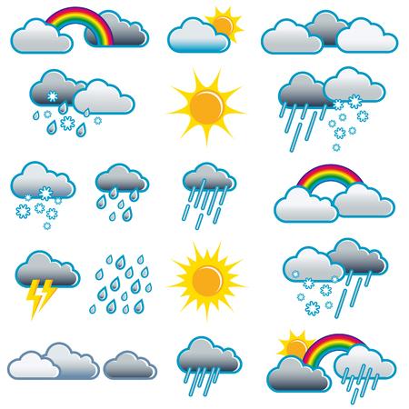 さまざまな気象状況の天気アイコンすべての天気状況を天気記号天気予報;天気予報  イラスト・ベクター素材