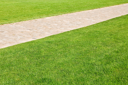 Maintained lawn with paved foot path in sunshine; Green space; Horticulture; Park way