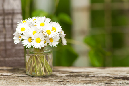 Little bunch of white flowers in glass vase on wooden ground; Bellis perennis; Small flower bouquet of daisies