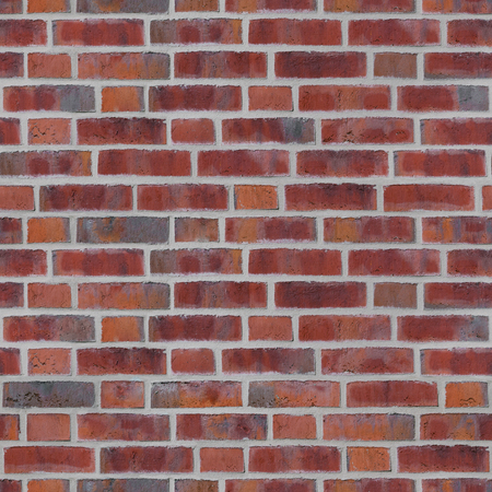 Seamless red brick wall with brighter joints for background; Endless tile of red stone wall texture Stock Photo