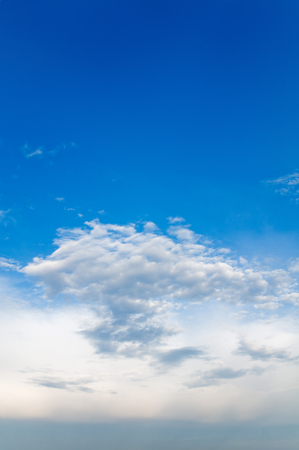 Azure sky with some clouds and haze at the ground; Cloud formation; Weather forecast Stock Photo