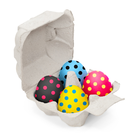 Bright cardboard egg box with four colored hen's eggs on white background; Easter greetings; Standard-Bild