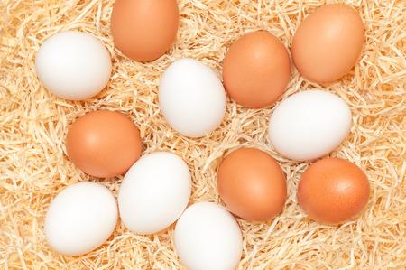 White and brown chicken eggs in wood wool - top view; Sale of organic eggs; Easter preparations; Bakery ingredients