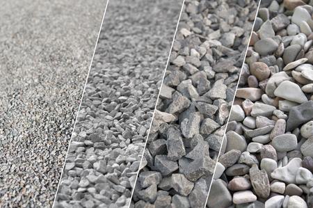 Cztery zdjęcia szarego żwiru w różnych rozmiarach i różnych powiększeniach; Materiały budowlane