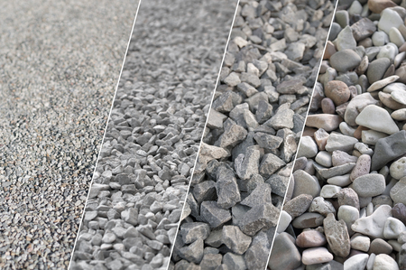 Four pictures of gray gravel in different sizes and different magnifications; Construction materials