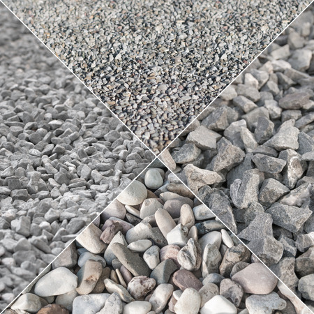Picture of gray gravel in different shapes, divided in four parts; Construction materials; Crushed natural stones Standard-Bild