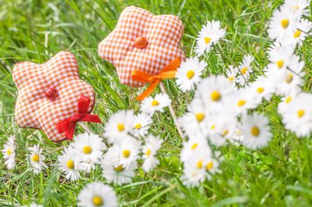 Fabric flowers and white wild flowers in green grass; Bellis perennis; Spring greetings; Spring flowers in sunlight Standard-Bild