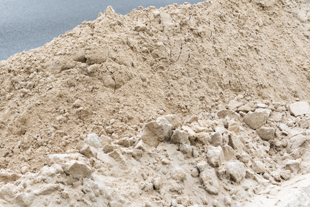 Pile of fine bright sand; Construction material; Component material; Material at construction site Standard-Bild