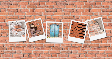 Five snapshots on seamless red brick wall background. Pictures of ailing house facades pinned on red building wall. Seamless pattern of red masonry