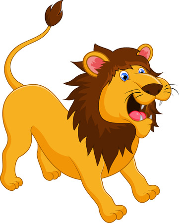 angry lion: Lion cartoon roaring