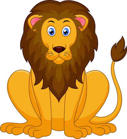 red heads: Cute lion cartoon Illustration