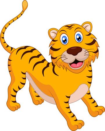 clip art icon: Cute tiger cartoon Illustration