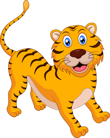 tigre bebe: Historieta linda del tigre Vectores