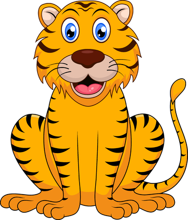 baby isolated: Cute tiger cartoon Illustration