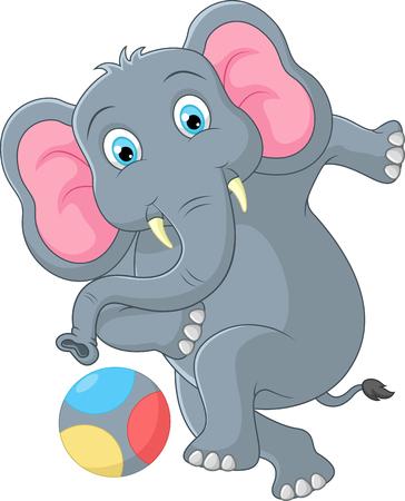 pelota caricatura: Dibujos animados elefante patear una pelota