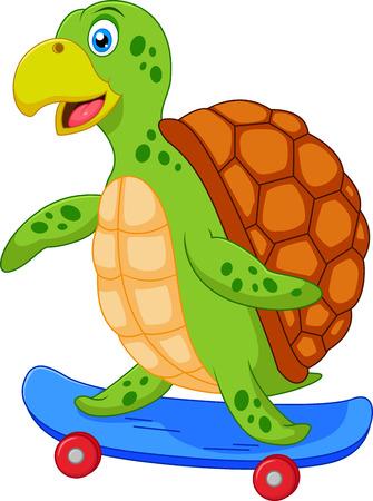 deportes caricatura: De dibujos animados lindo de la tortuga con el patín