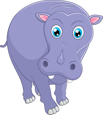 hipopotamo caricatura: Cute hippo cartoon Vectores
