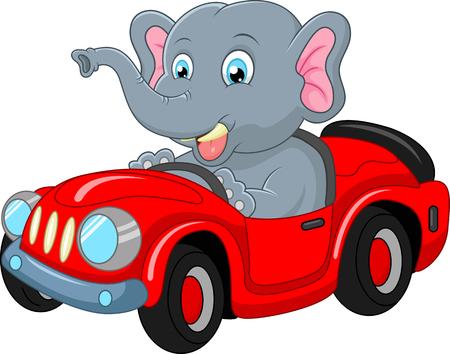 elefantes: Elefante de la historieta que conduce un coche Vectores