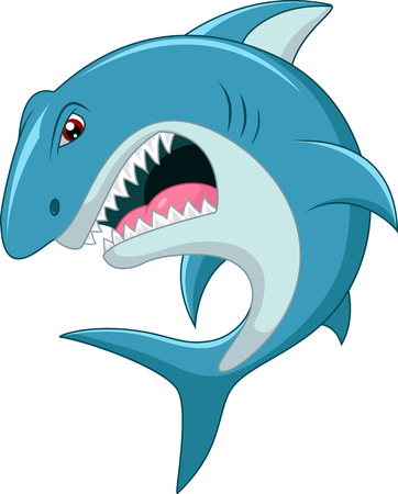 Wütend Hai cartoon Standard-Bild - 45019231