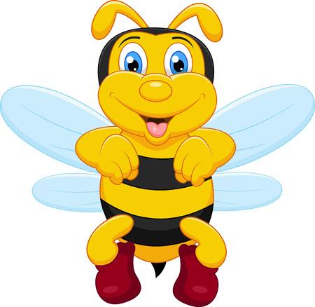 abeja reina: Historieta divertida de la abeja Vectores