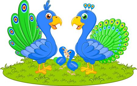 specie: Happy peacock family cartoon Illustration
