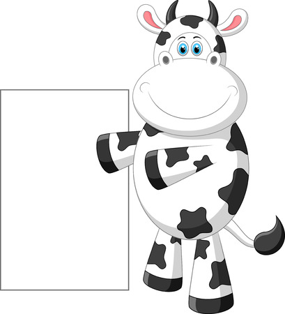 black and white farm animals: Cute cow cartoon with blank sign