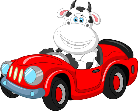 moo: Cartoon cow driving a car Illustration