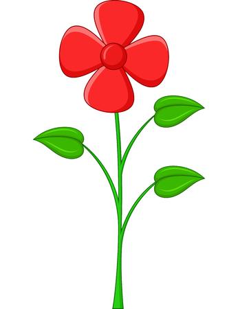 flor caricatura: Dibujo animado de la flor en un fondo blanco