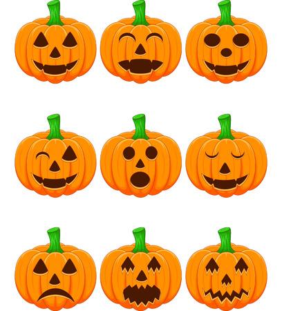 Halloween set met pompoenen Stock Illustratie
