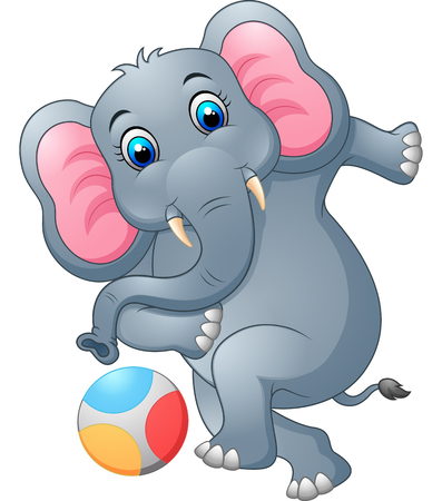 smart card: Elephant cartoon kicking a ball Illustration