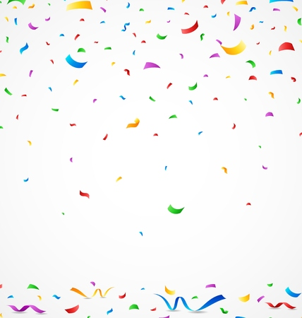 welcoming party: Colorful confetti on white background