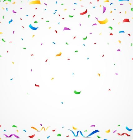 Colorful confetti on white background