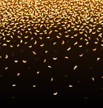 welcoming party: Golden confetti on black background Illustration