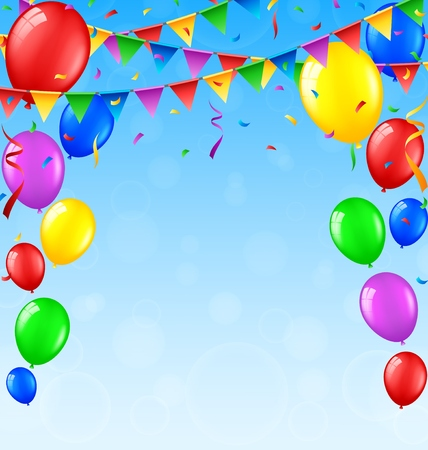 welcoming party: Birthday background with balloons and confetti