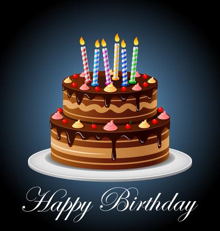 Verjaardags cake met kaarsen Stock Illustratie