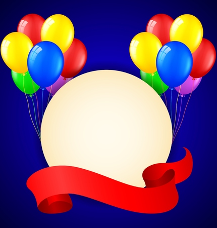 welcoming party: Modern birthday background with balloons and place for text Illustration