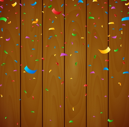 welcoming party: Colorful confetti on wooden background Illustration