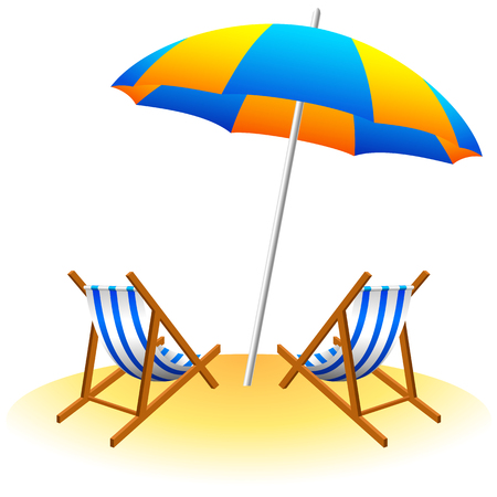 lifebouy: Beach umbrella and deck chairs