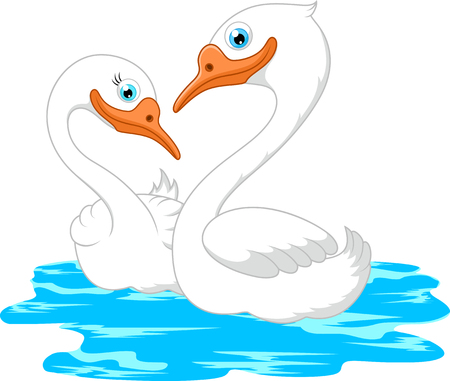 geese: Cartoon geese on the pond Stock Photo