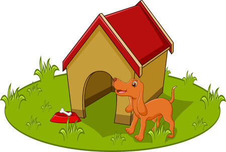 Cute dog cartoon with home