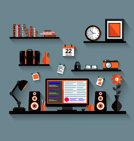 home entertainment: Modern home media entertainment system illustration Stock Photo