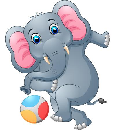 ludicrous: Elephant cartoon kicking a ball Stock Photo