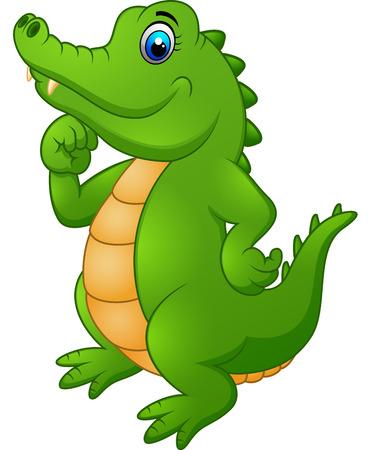 timid: Cute cartoon crocodile